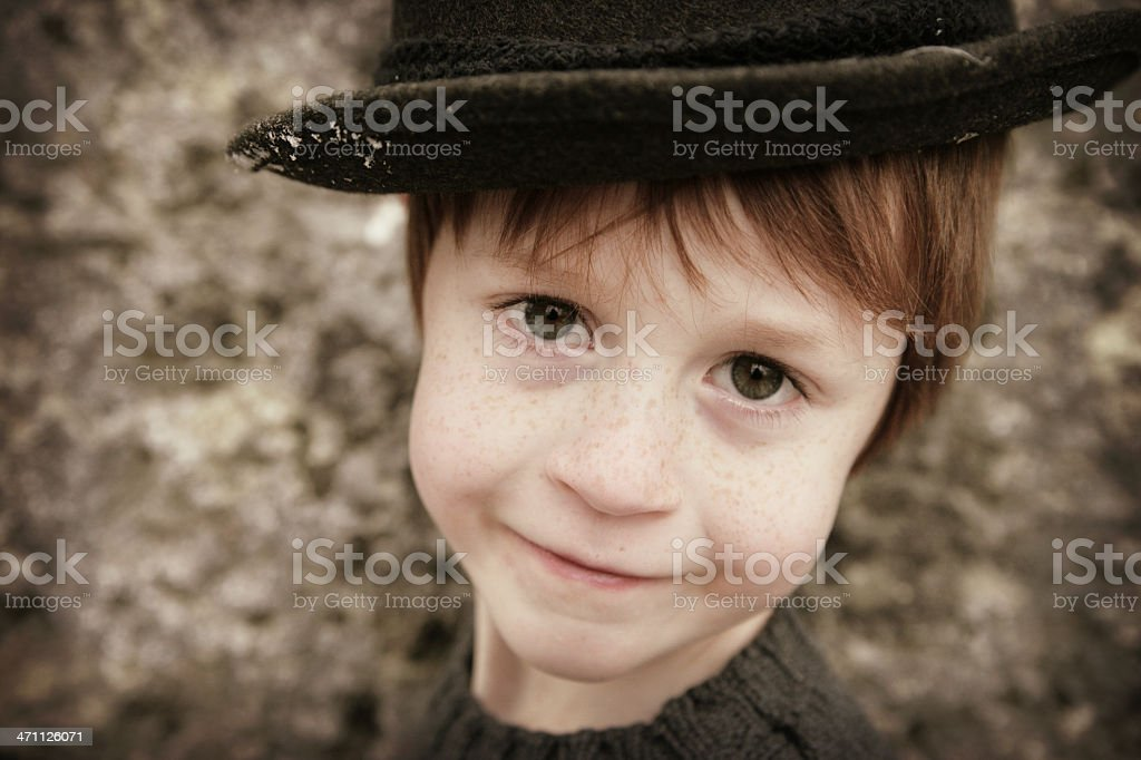 Cute Little Boy in Pork Pie Hat stock photo