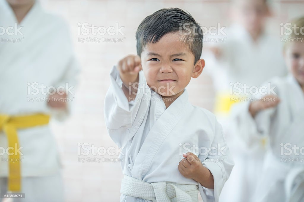 Cute Little Boy Taking Karate stock photo