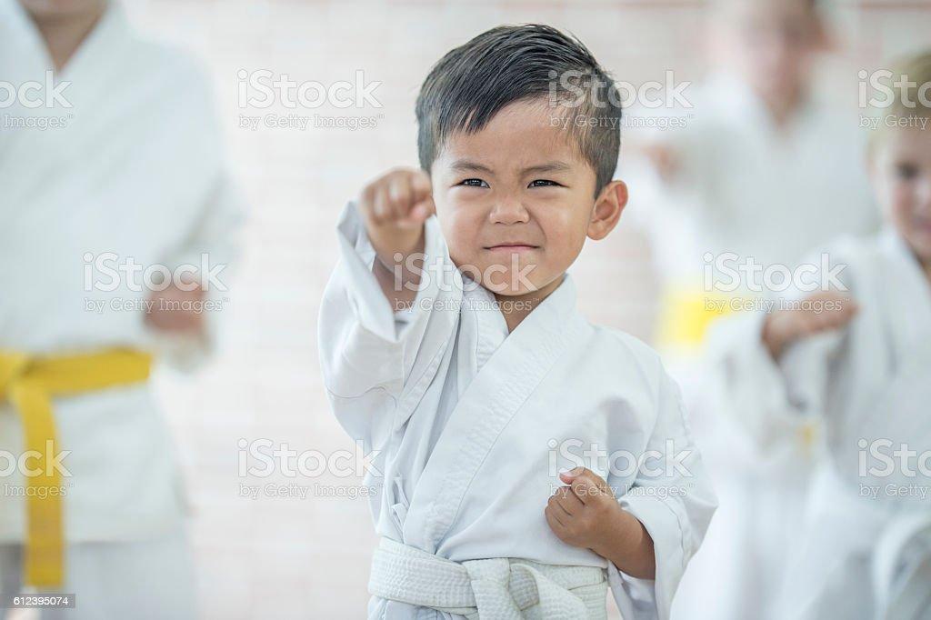 Cute Little Boy Taking Karate stock photo