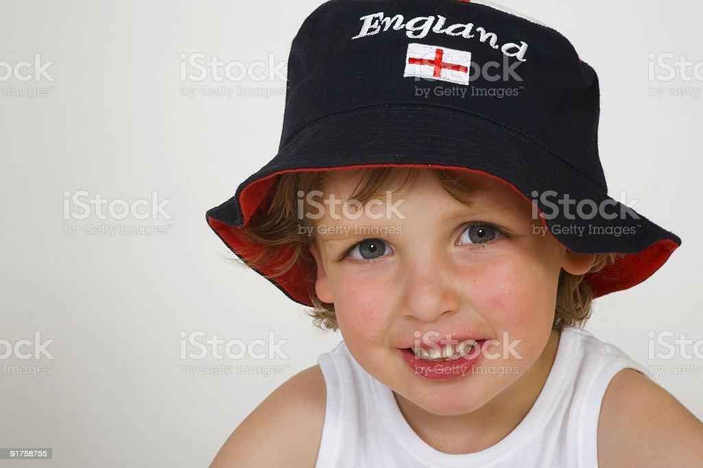 Cute Little Boy Wearing An England Hat stock photo
