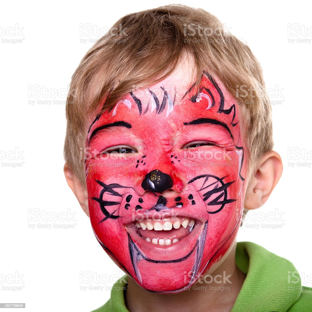 Cute little boy with face painting royalty-free stock photo