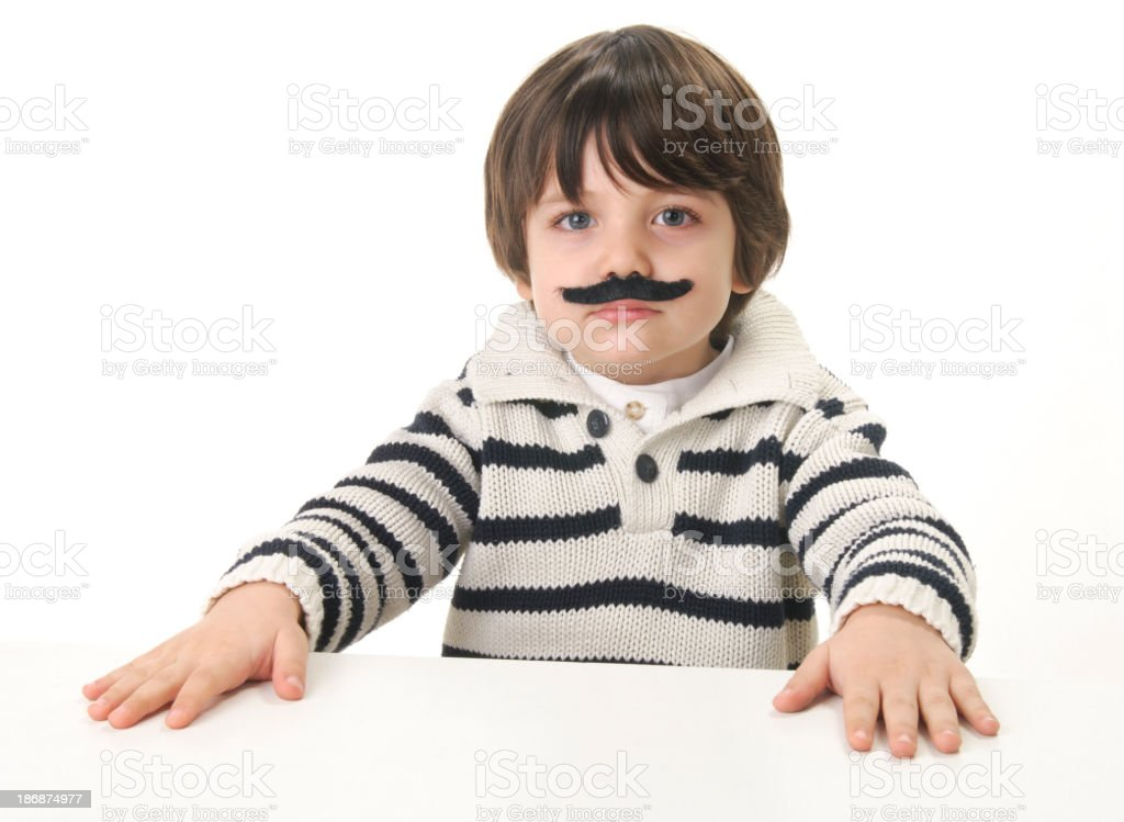 cute little boy with mustache royalty-free stock photo