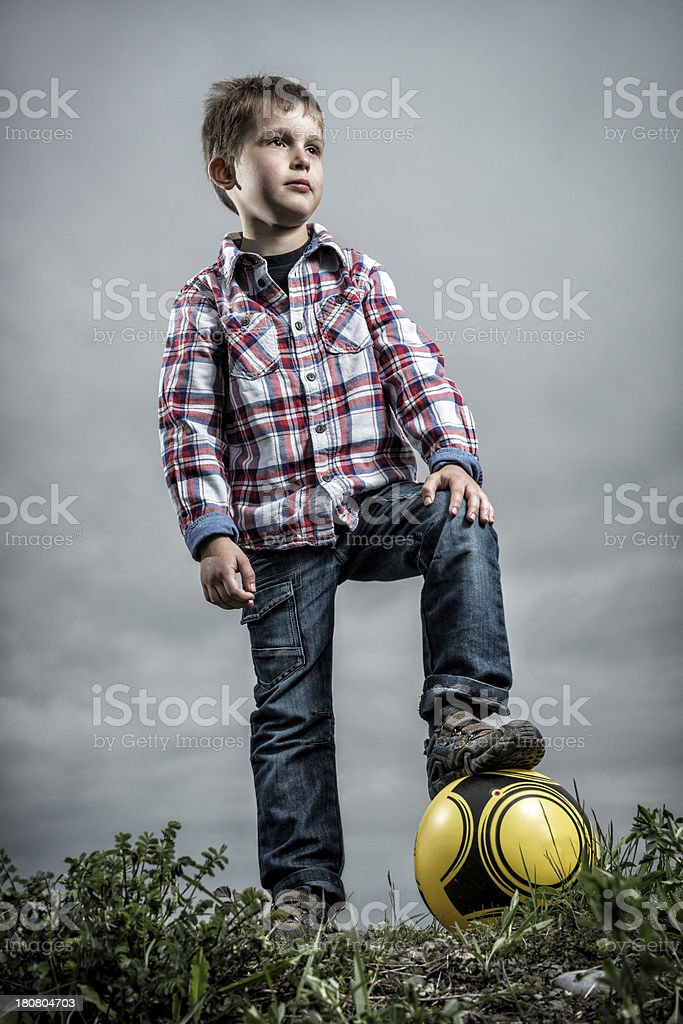 cute little boy with soccer ball royalty-free stock photo