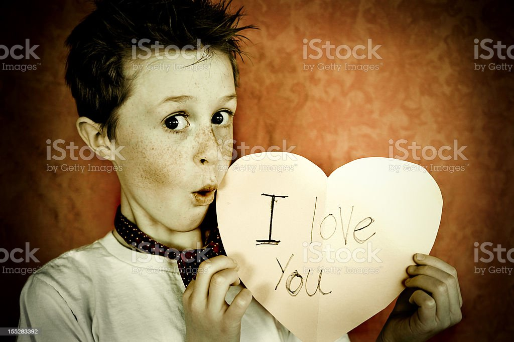 Cute Little Boy with Valentine royalty-free stock photo