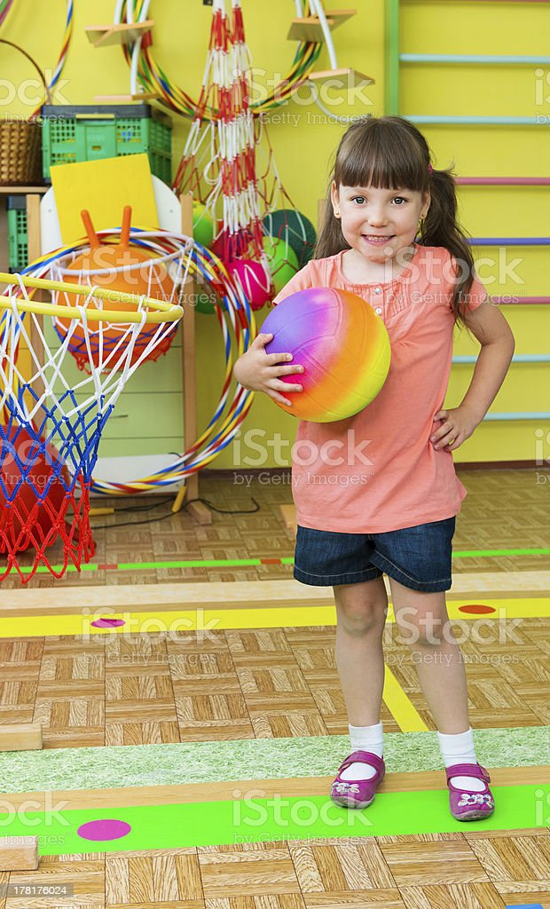 Cute little children at daycare gym royalty-free stock photo