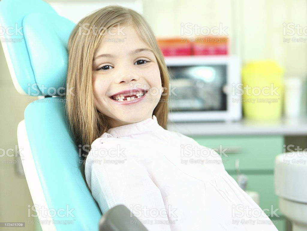 Cute little girl at dentist office. stock photo