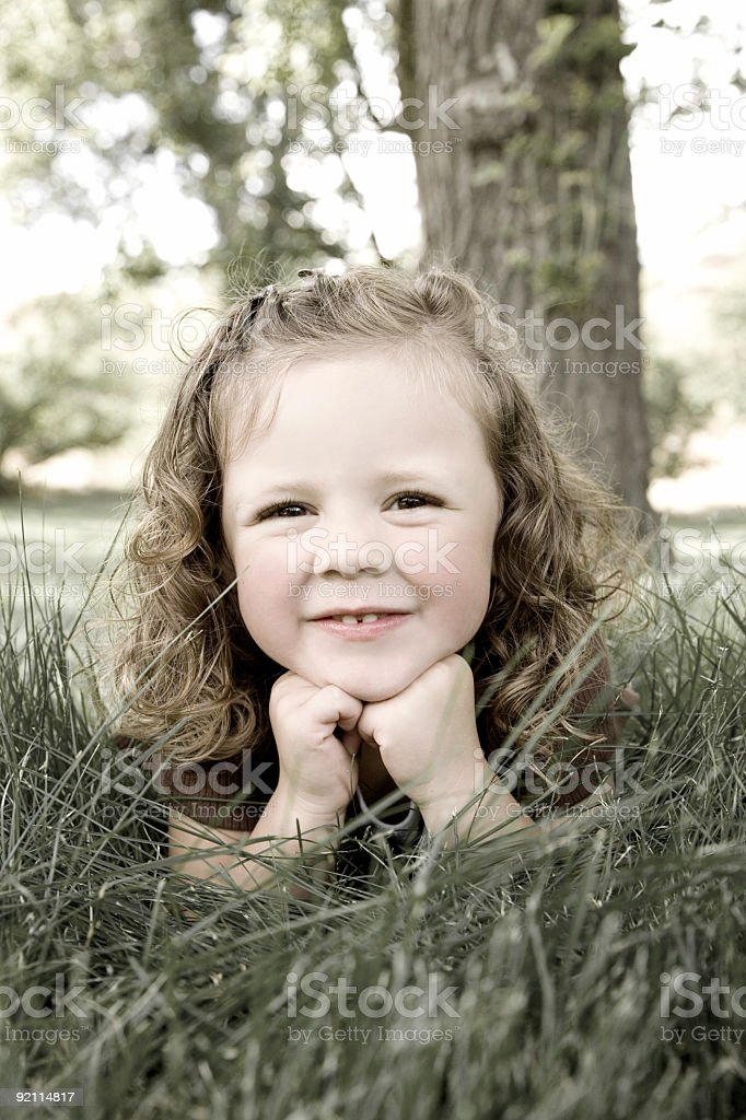 Cute Little Girl / Colorized stock photo