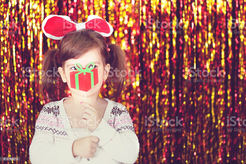 Cute little girl for Christmas stock photo