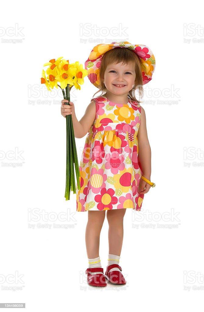 Cute little girl giving flowers stock photo
