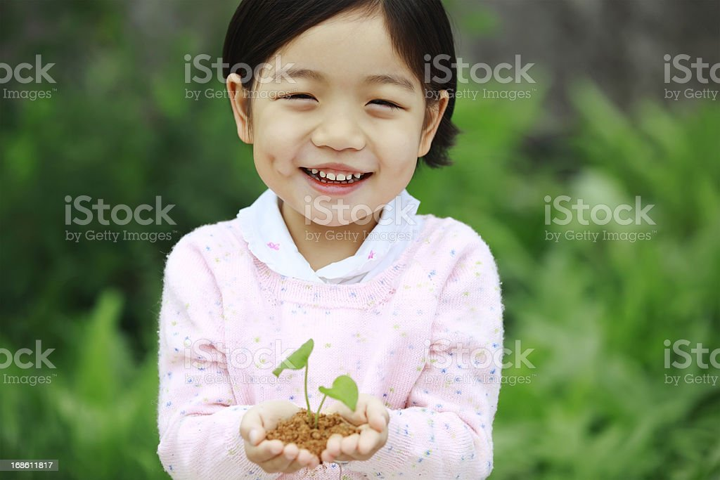 Cute little girl holding with seedling royalty-free stock photo