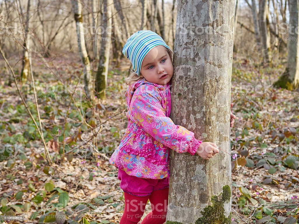 Cute little girl hugging a tree trunk in spring forest. stock photo