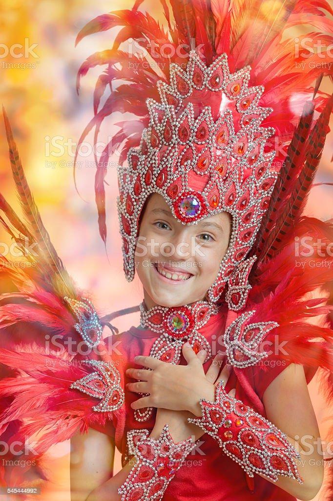 Cute little girl in Carnival costume dancing Samba stock photo