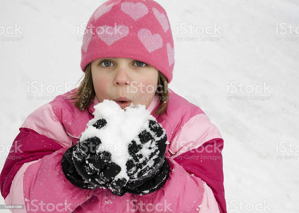 Cute Little Girl in the Snow stock photo