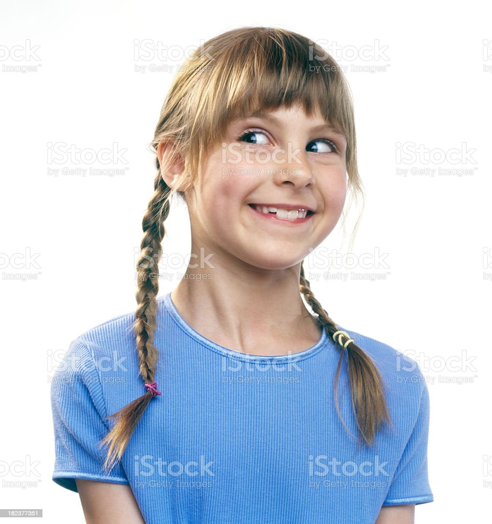 Cute Little Girl Looking To Side stock photo