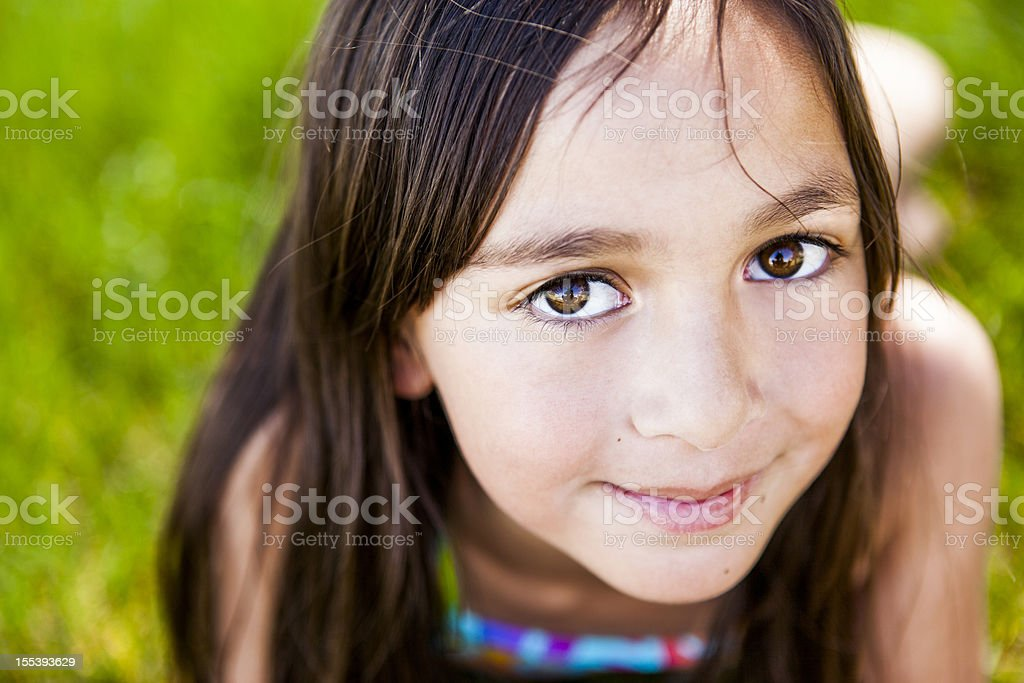 Cute Little Girl Outside in Spring stock photo