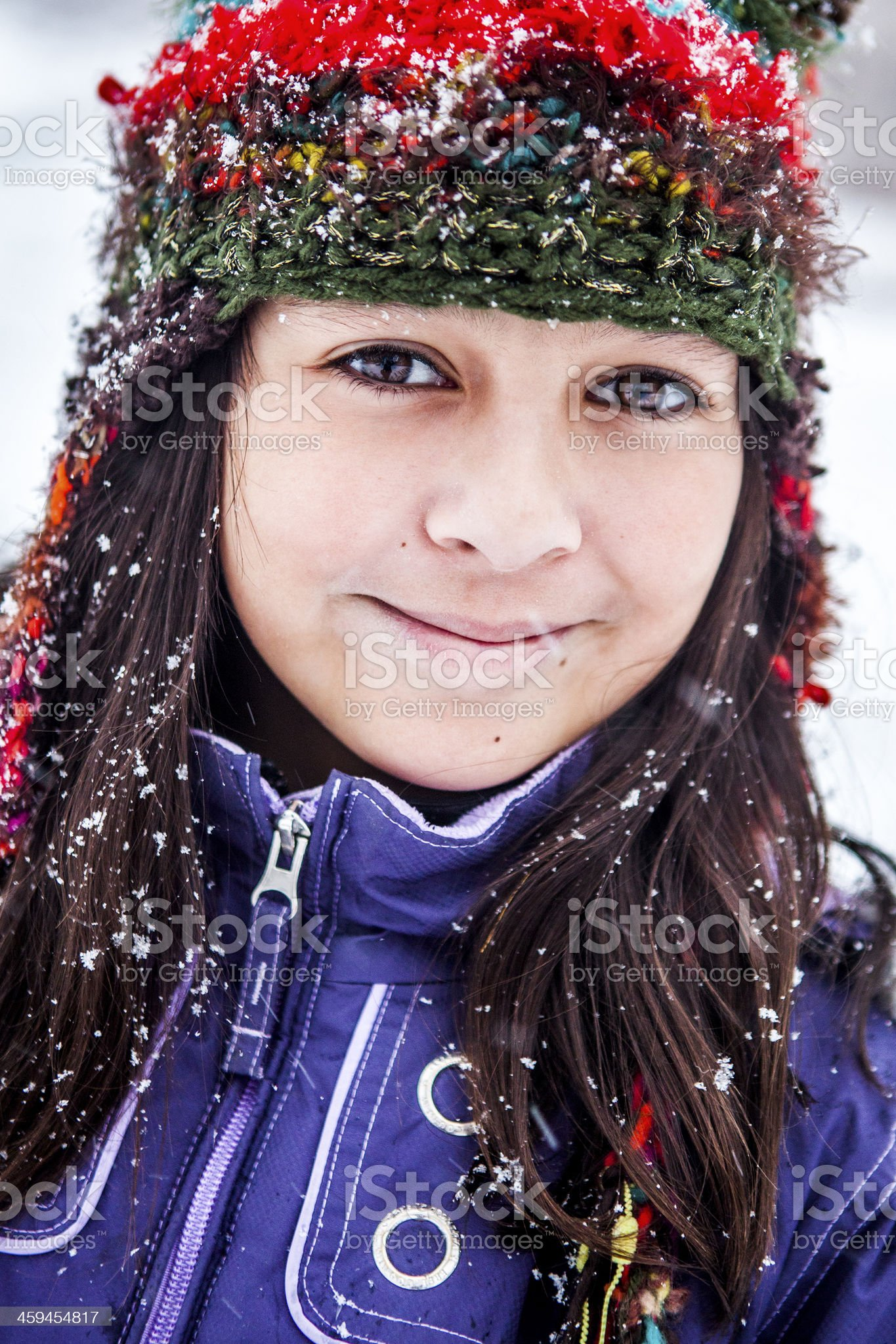 Cute Little Girl Outside in Winter Snow royalty-free stock photo