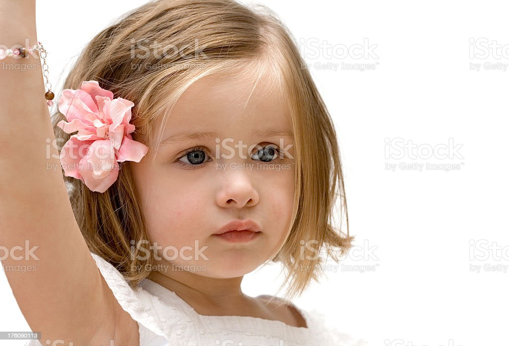 Cute little girl raising hand royalty-free stock photo