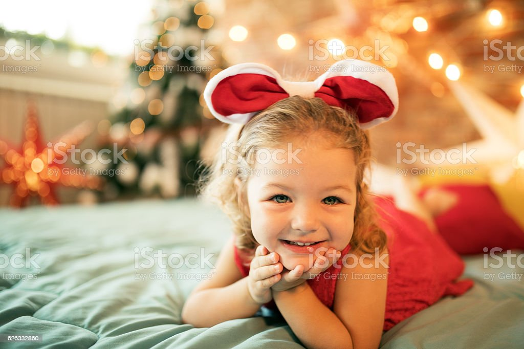 Cute little girl ready for Christmas stock photo