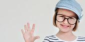 Cute Little Girl Smiling Fun Happiness Retro Concept