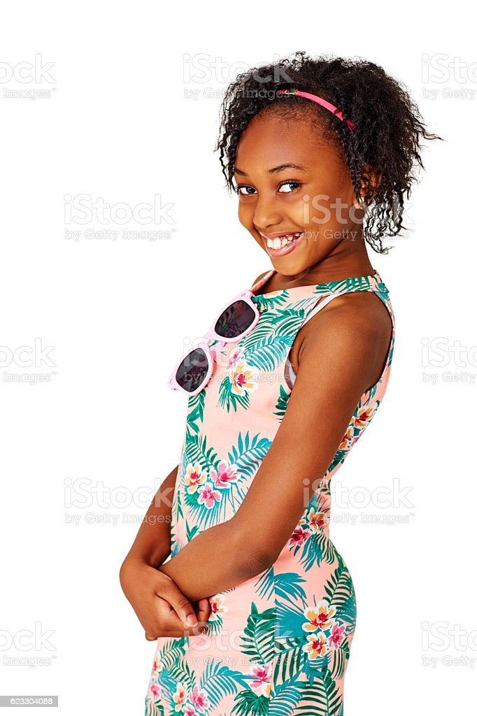 Cute little girl standing with beautiful smile stock photo