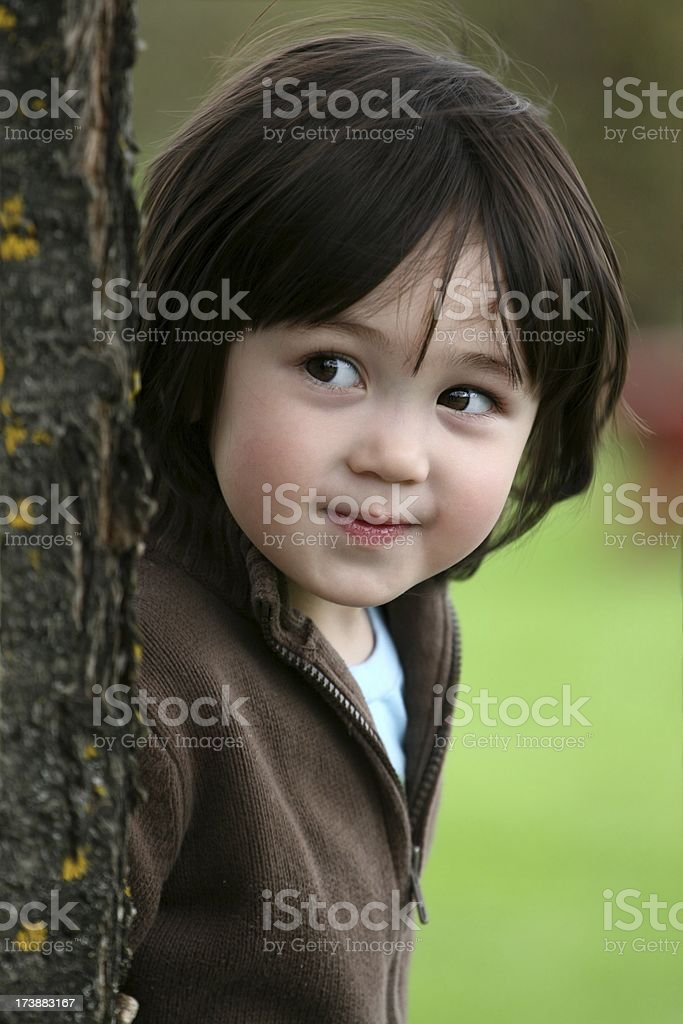 Cute Little Girl Watching Something royalty-free stock photo