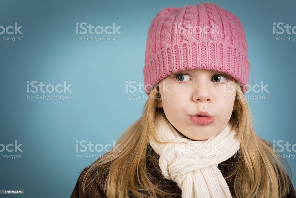 Cute Little Girl Wearing Knit Hat, With Copy Space royalty-free stock photo