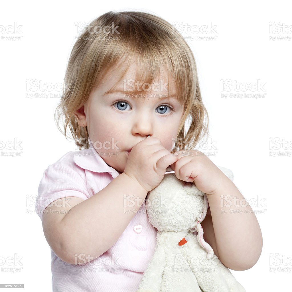 Cute little girl with bunny royalty-free stock photo
