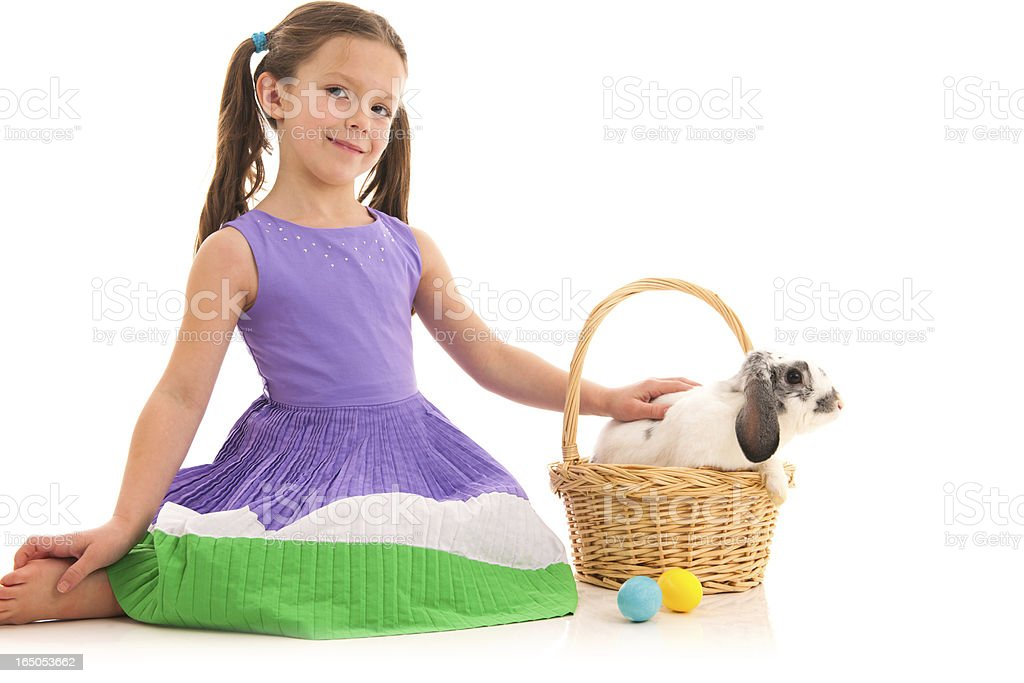 Cute Little Girl with Easter Bunny stock photo
