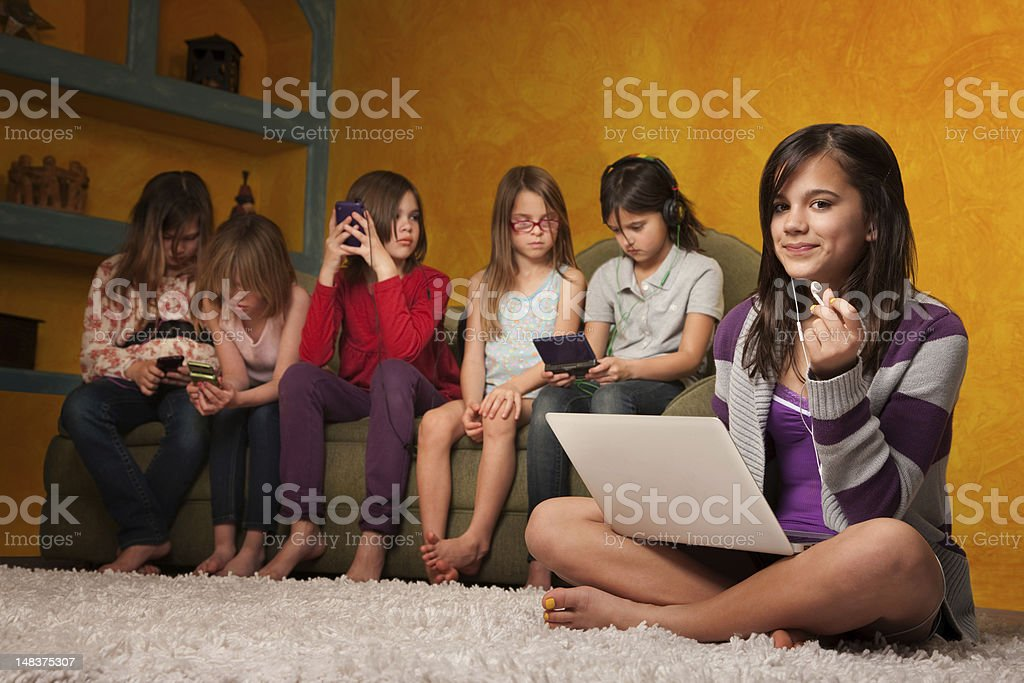 Cute Little Girl with Laptop royalty-free stock photo