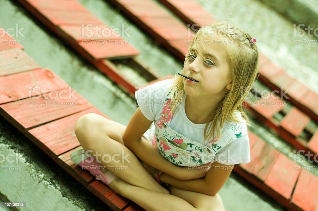 Cute Little Girl With Lollipop stock photo
