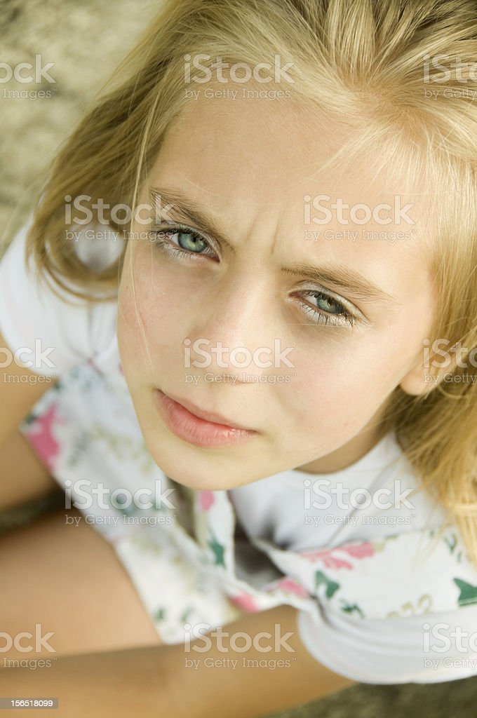 Cute Little Girl With Make Up stock photo