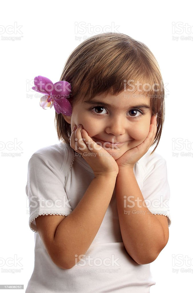 cute little girl with orchid royalty-free stock photo