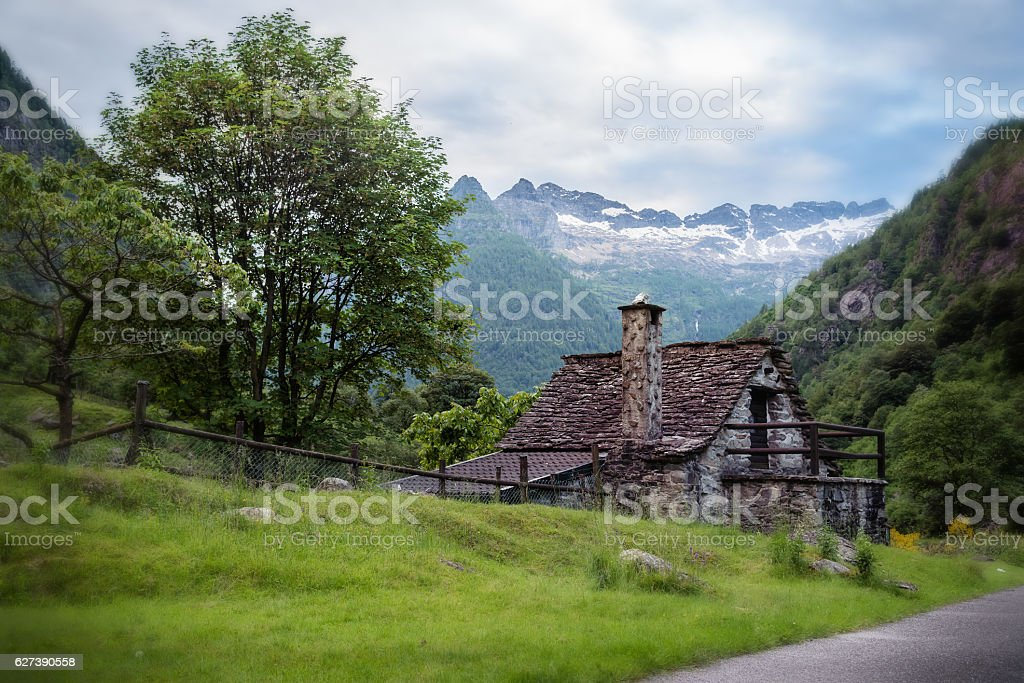 Cute Little House with a Beautiful Landscape stock photo