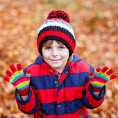 Cute little kid boy on autumn leaves background in park.