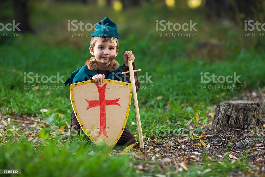 Cute Little Knight stock photo