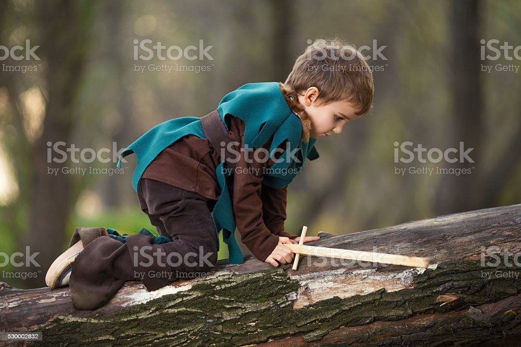 Cute Little Knight stock photo