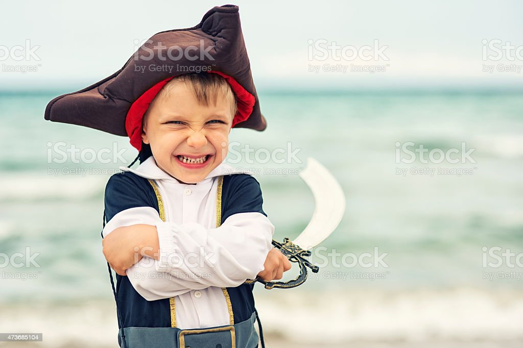 Cute little pirate stock photo