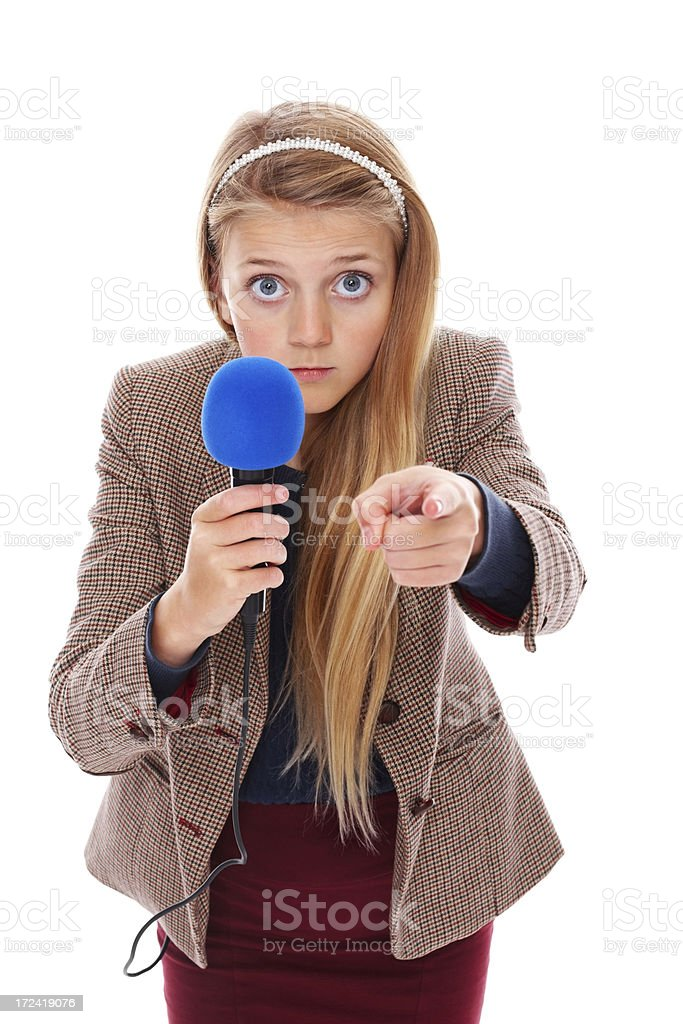 Cute little reporter asking you a question against white royalty-free stock photo