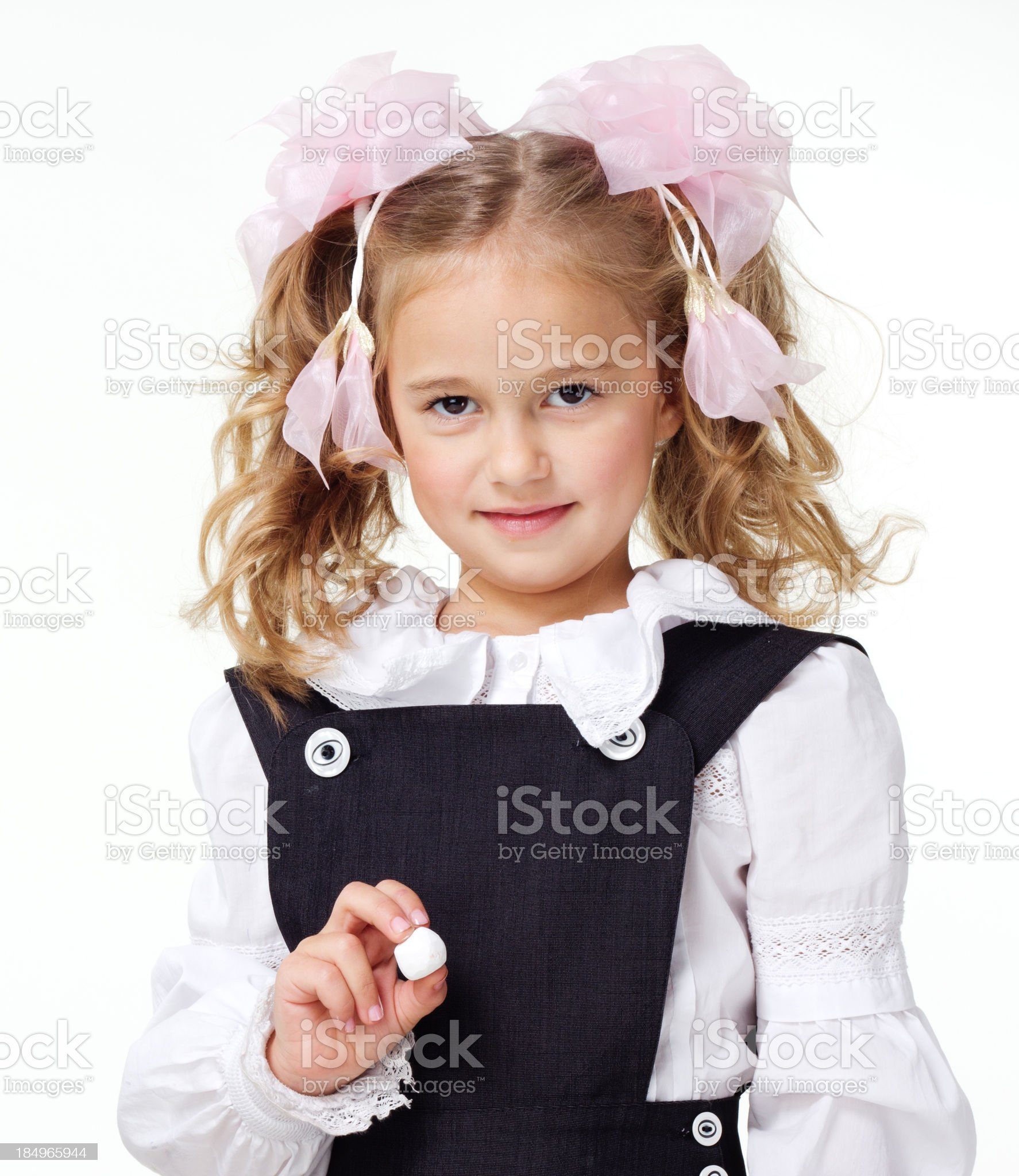 Cute little school girl royalty-free stock photo