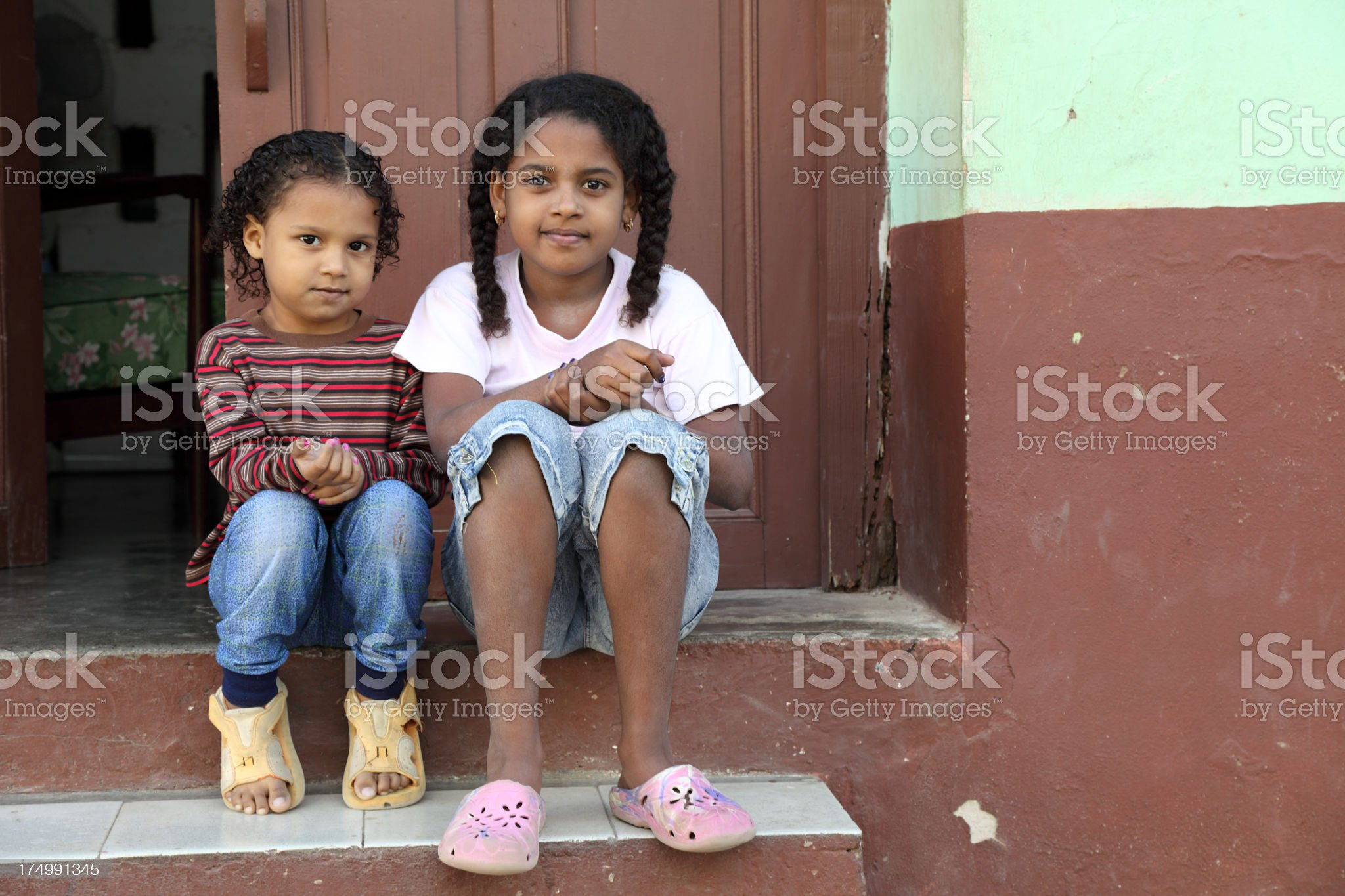 Cute little sisters royalty-free stock photo