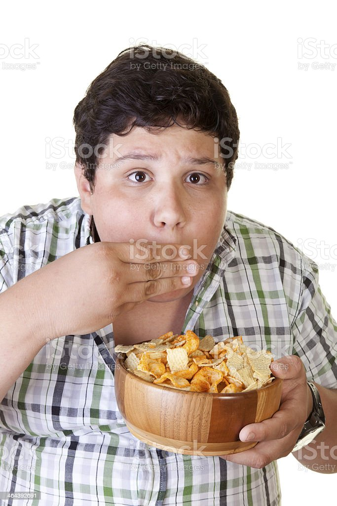 Cute Man Eating chips royalty-free stock photo