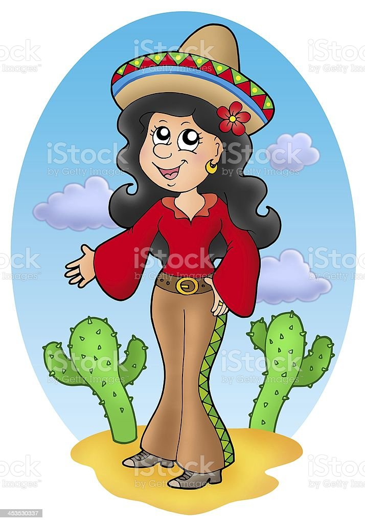 Cute Mexican girl in desert royalty-free stock photo