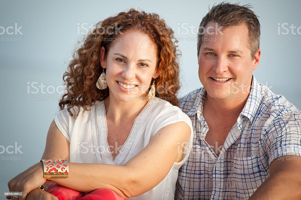 Cute Middle Aged Couple Close Up Portrait stock photo