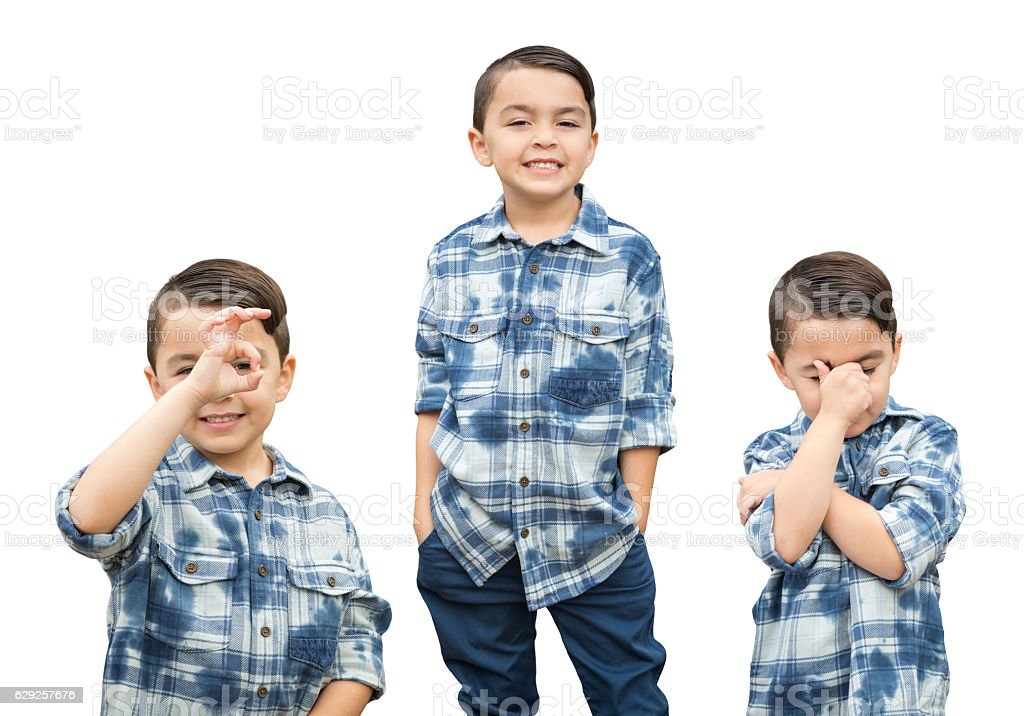Cute Mixed Race Boy Portrait Variety on White stock photo