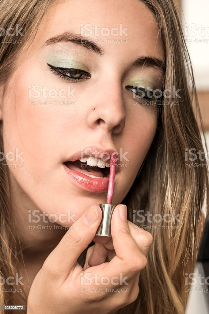 Cute model in make-up session stock photo