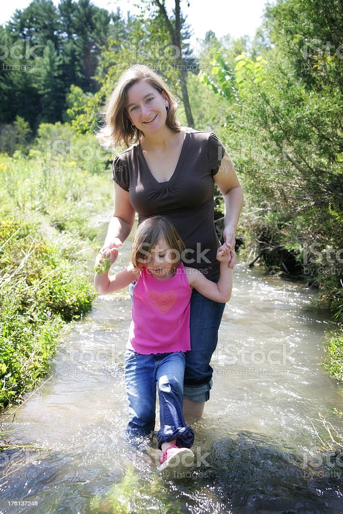 Cute Mom and Daughter Playing in Stream royalty-free stock photo