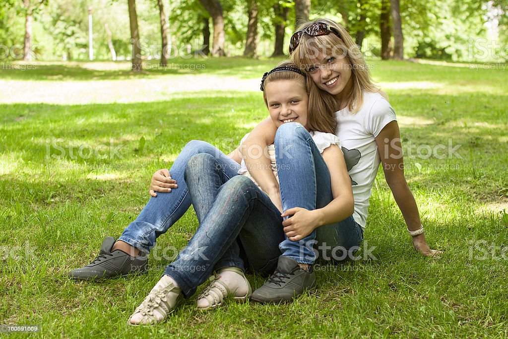 Cute mother and daughter royalty-free stock photo