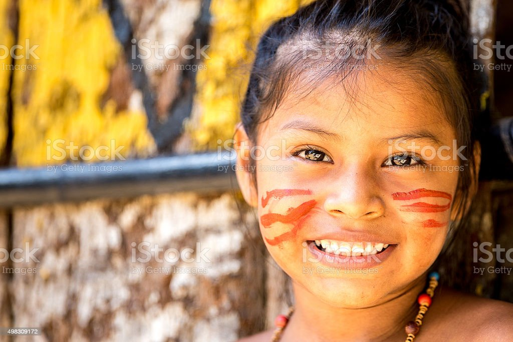 Cute Native Brazilian girl in Amazon, Brazil stock photo