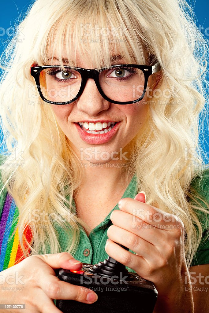 cute nerd gamer girl close up royalty-free stock photo