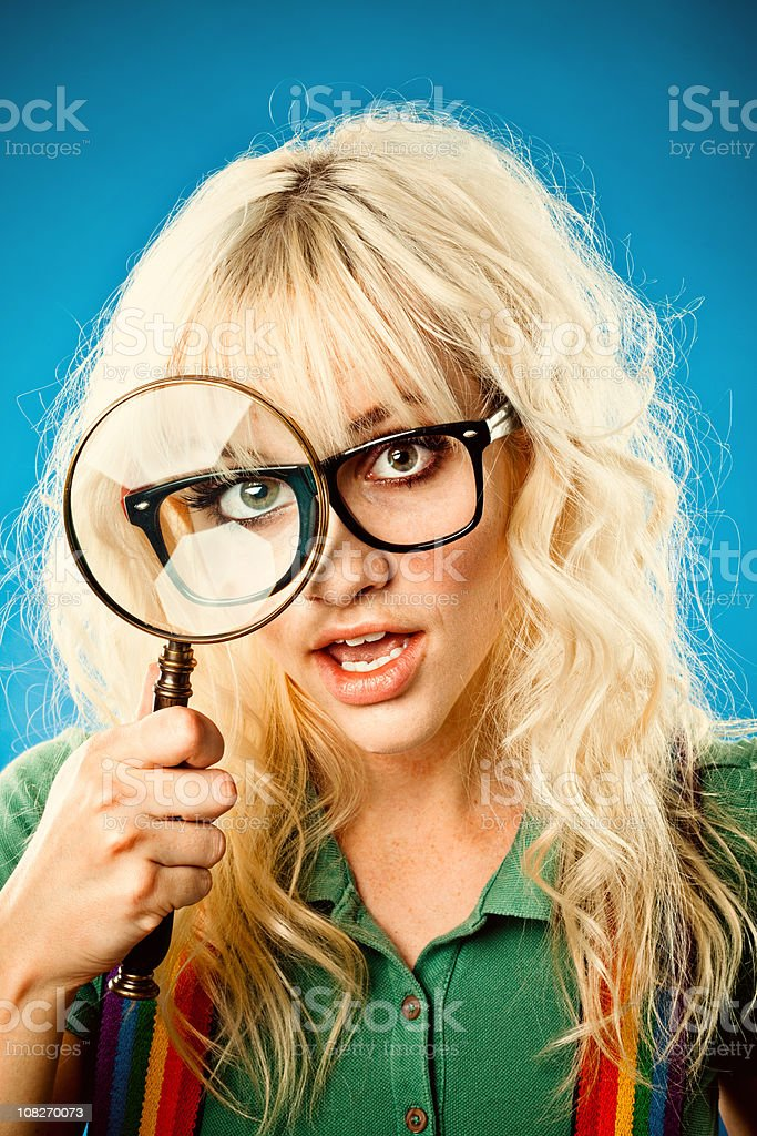 cute nerd girl searching royalty-free stock photo
